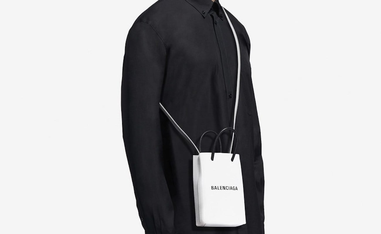 Balenciaga Shopping Phone Holder Leather Smartphone Pouch is a convenient way to hold your mobile