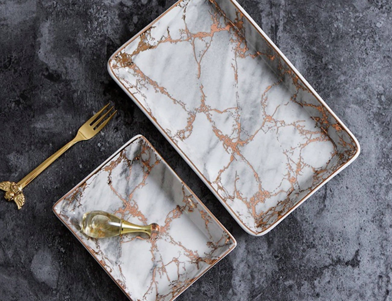 Ceramic Marble Trays will keep your jewelry contained with style