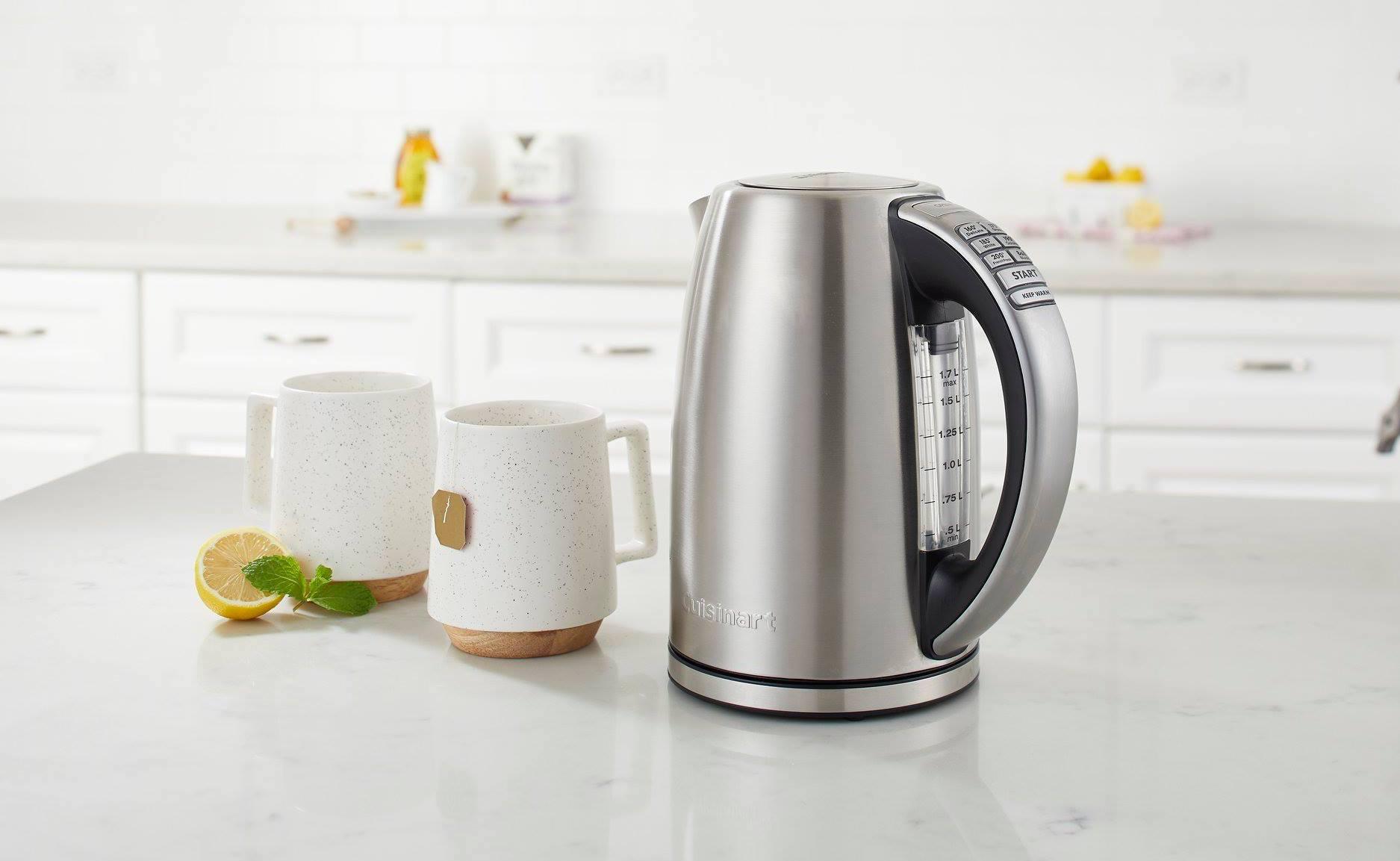 Cuisinart PerfecTemp Cordless Electric Kettle Stainless Steel Teakettle has 6 exact temperature settings