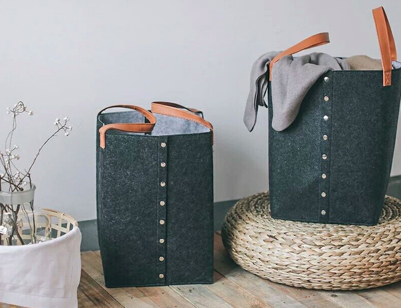 Felt Bucket-Style Laundry Basket is all about style