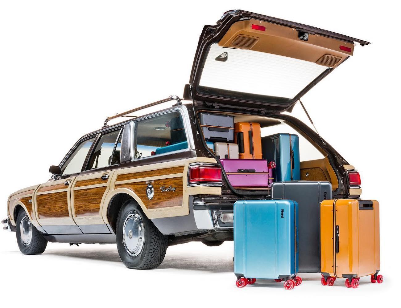 Floyd Cabin Hard Shell Skateboard-Inspired Suitcase offer a high-quality vintage design