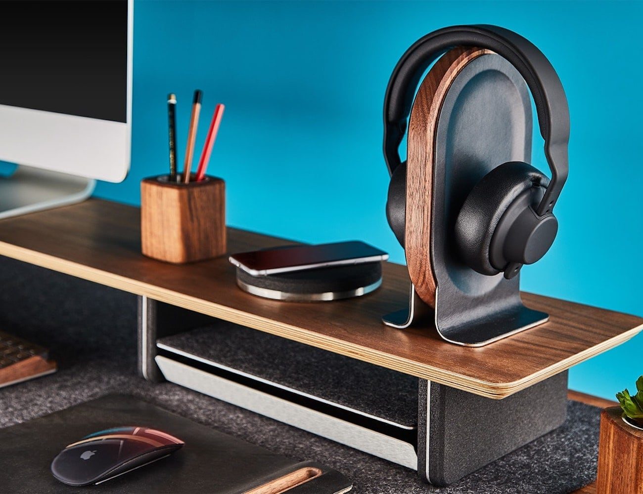 Grovemade Wood & Leather Headphone Stand reimagines headphone storage