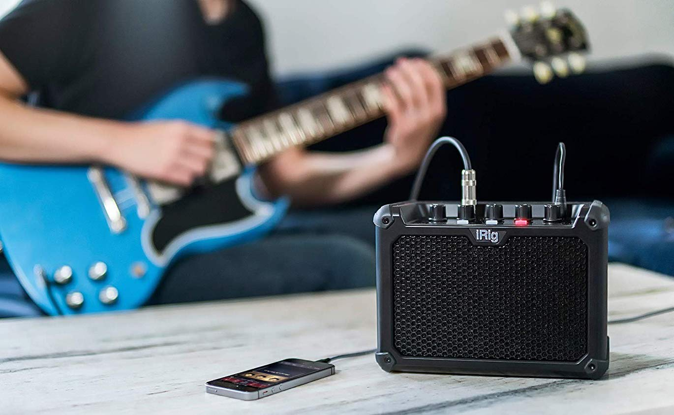 IK Multimedia iRig Micro Amp Battery-Powered Guitar Amplifier provides three custom analog channels