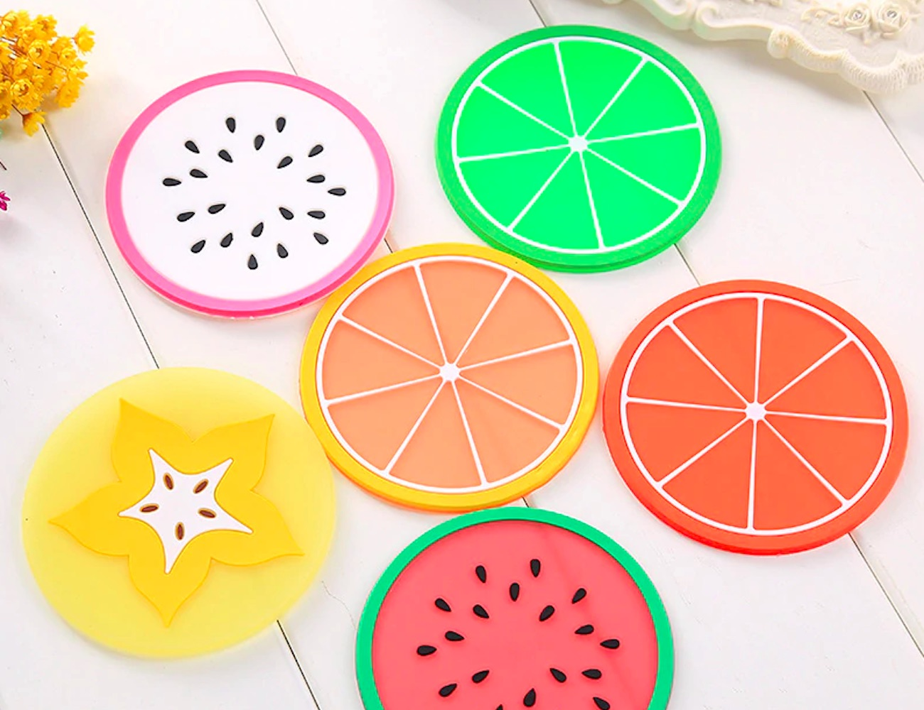 Kawaii Assorted Fruit Silicone Coasters are a splash of flavor