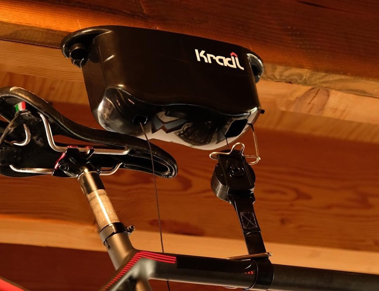 Kradl Bike Lift Storage System lets you easily access your bike whenever you need it