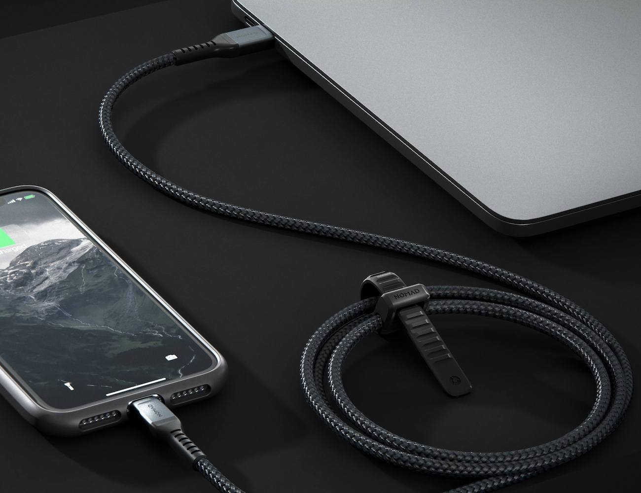 Nomad USB-C to Lightning Cable Kevlar-Reinforced Cord quickly charges your iPhone