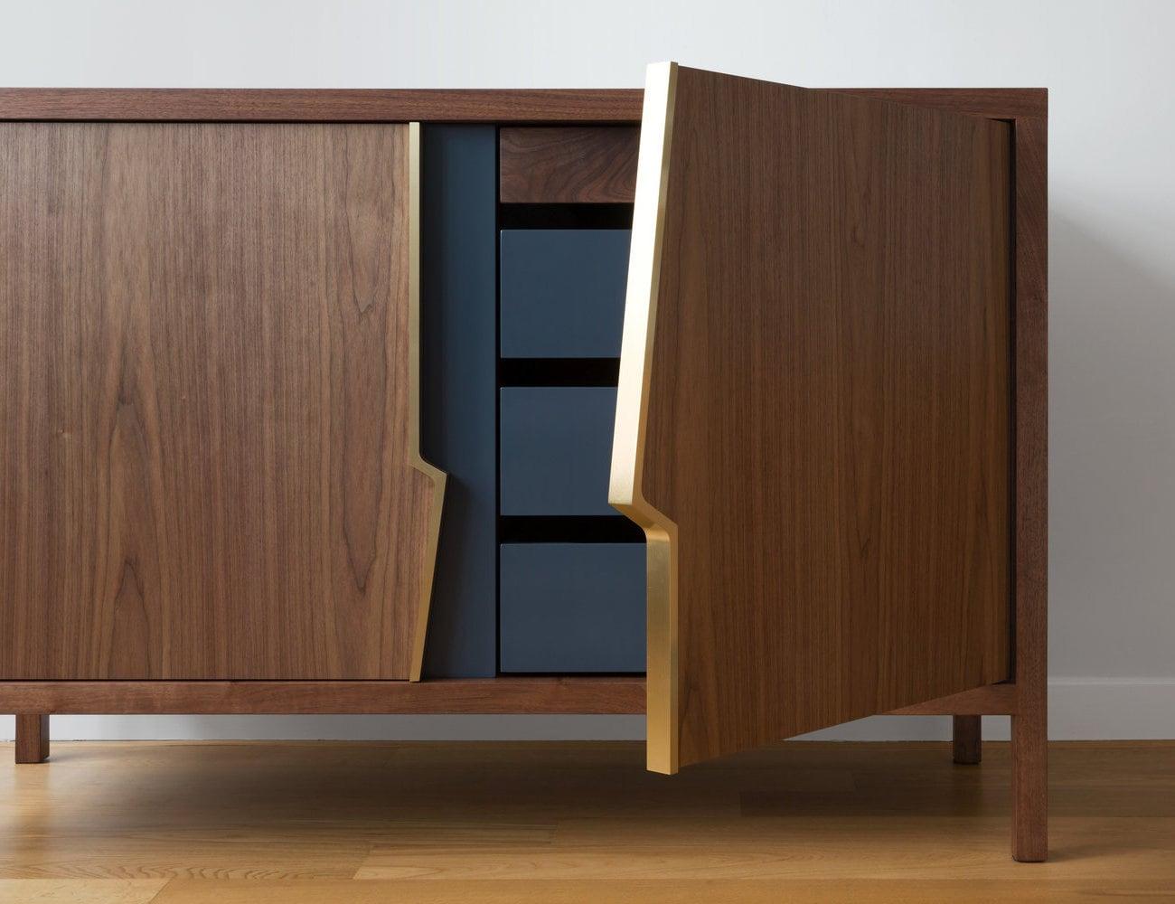 Piet Houtenbos Halsey Fracture Dresser Broken-Design Wardrobe has full-height brass handles