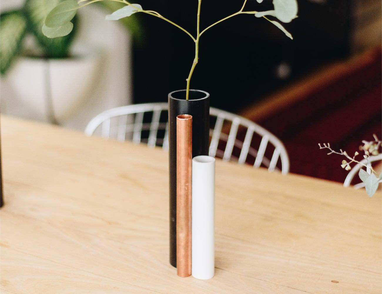 Pipe Vase Repurposed Flower Holder makes beautiful use of construction scraps