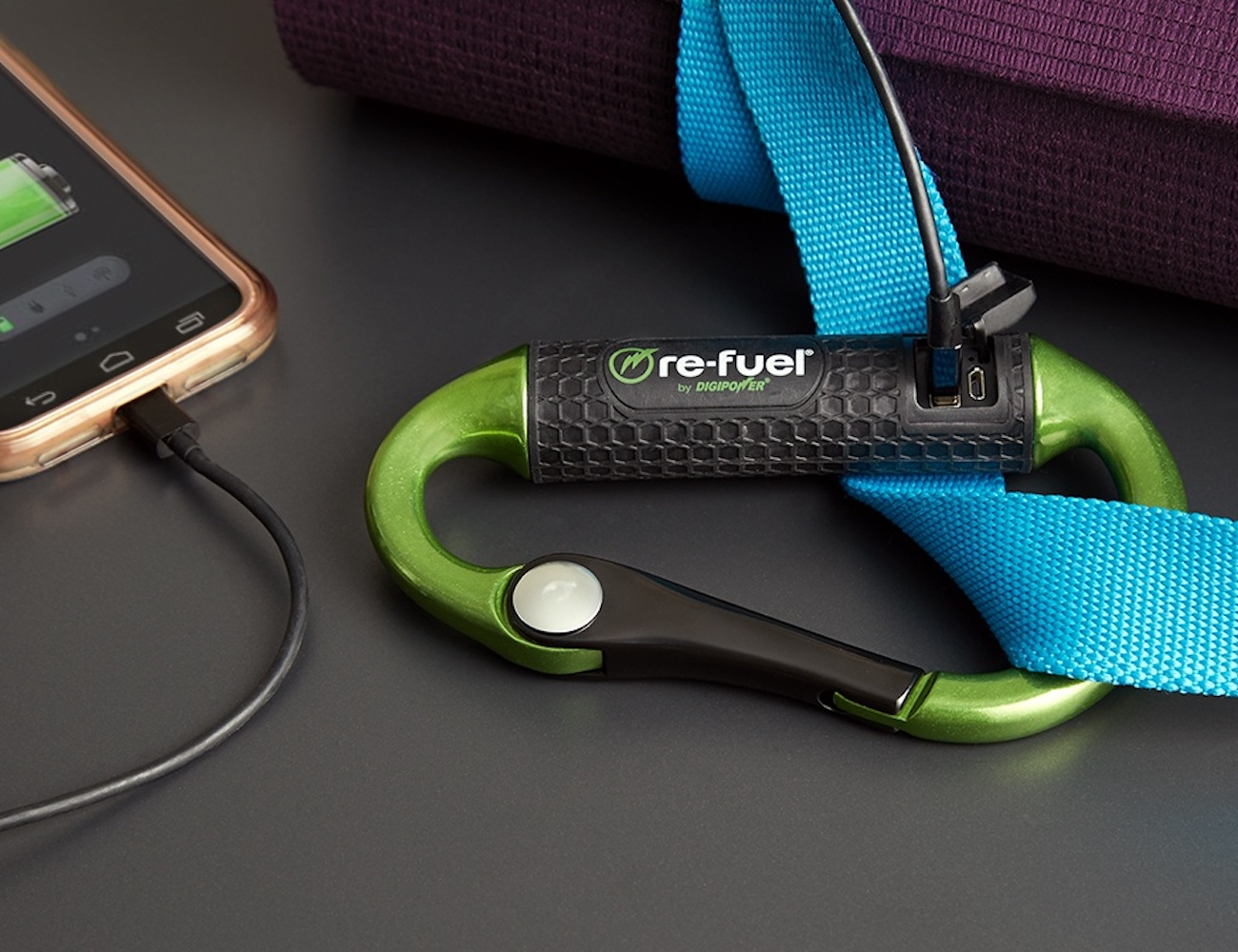 Re-Fuel Carabiner Power Bank is on the go charging perfected