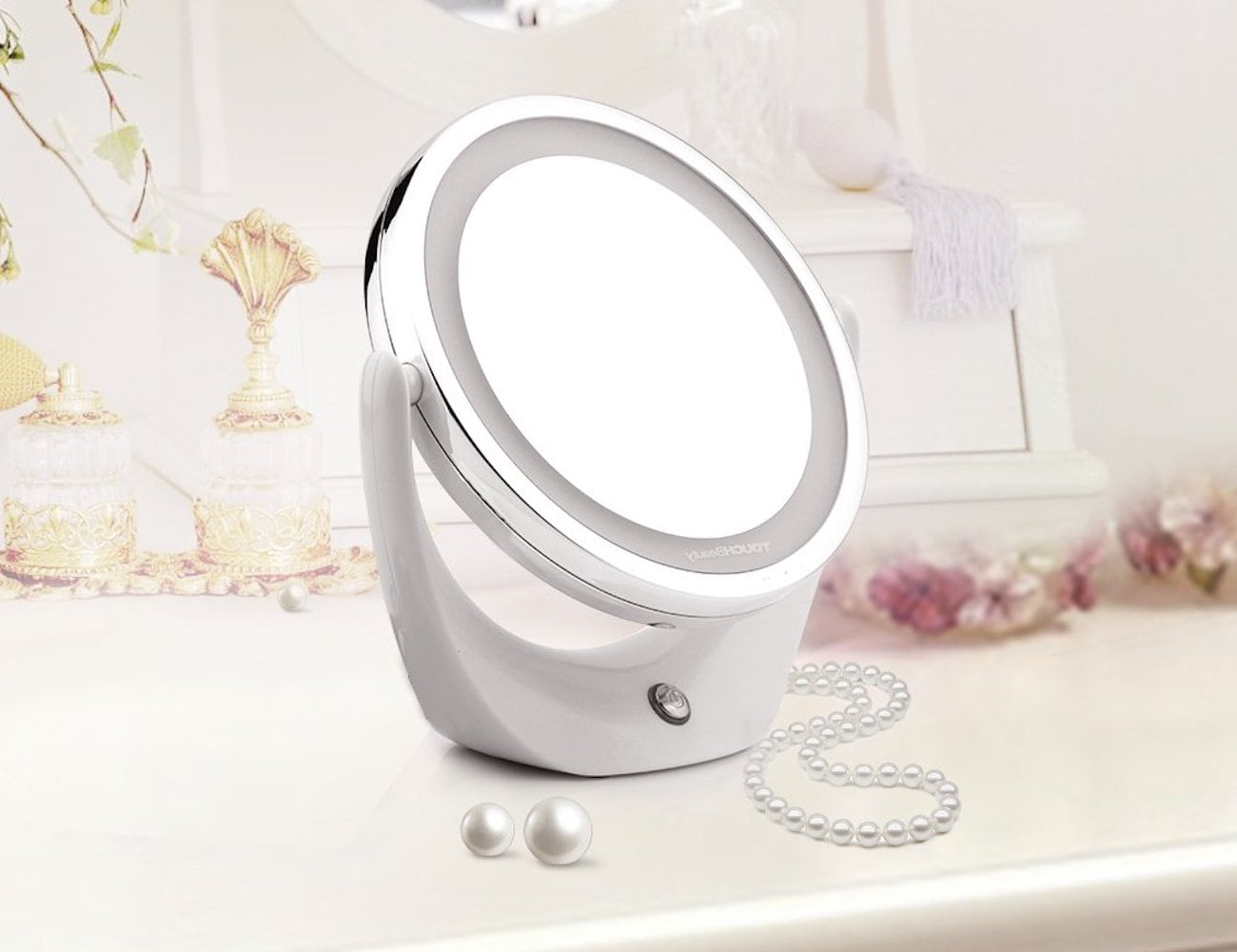 TOUCHBeauty Double-Sided LED Makeup Mirror magnifies up to five times