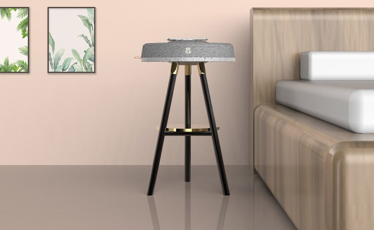 Table Objet Multipurpose Bedside Table has an integrated speaker and light