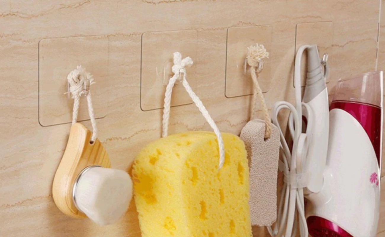 Transparent Self-Adhesive Storage Hook blends in with any decor