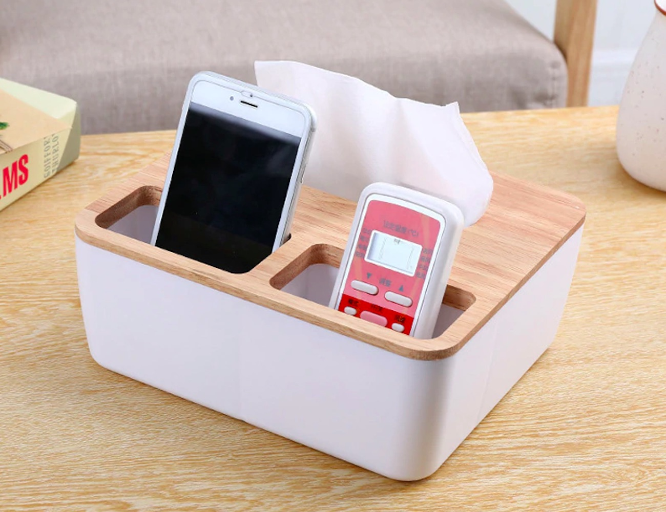 Wooden Tissue Box Organizer has a spot for everything you need