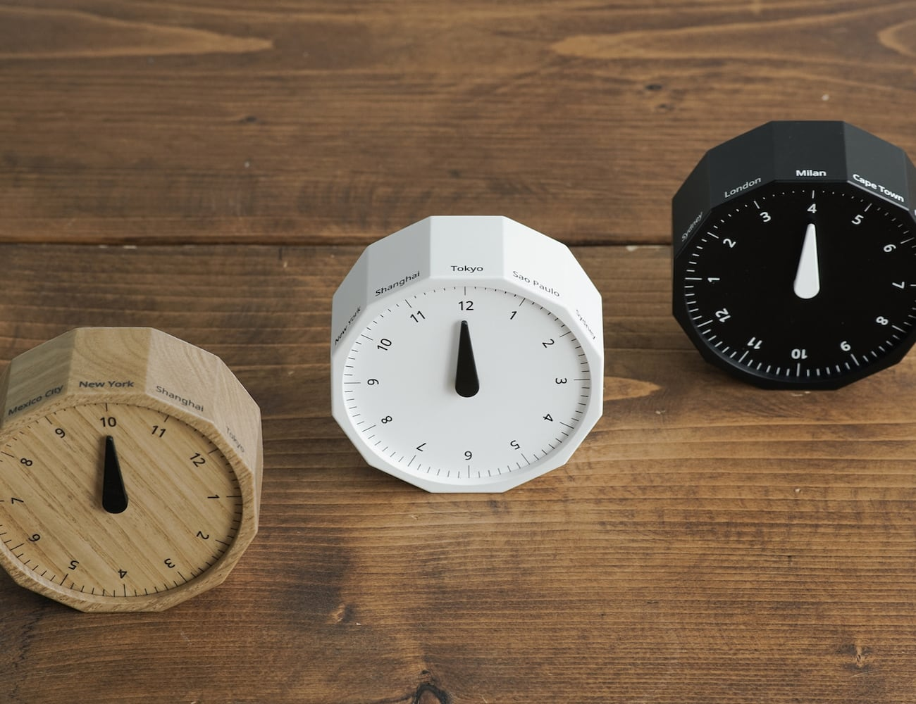 World Clock Miniature 12-Sided Clock turns with the time zones