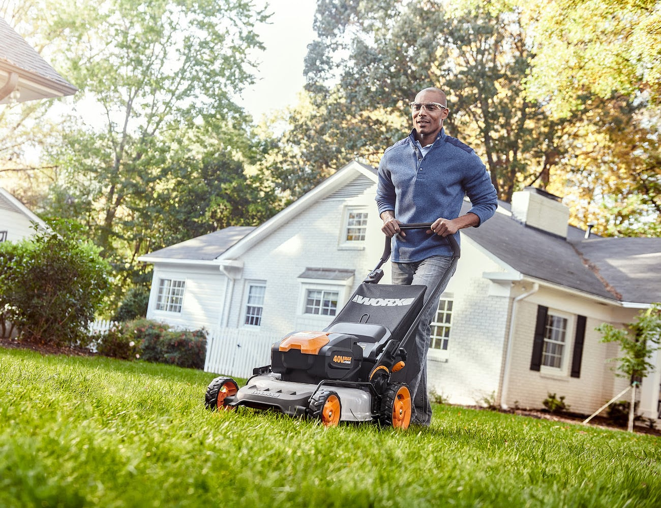Worx 40V 20″ Mower Mulching Lawn Mower stores easily by completely collapsing
