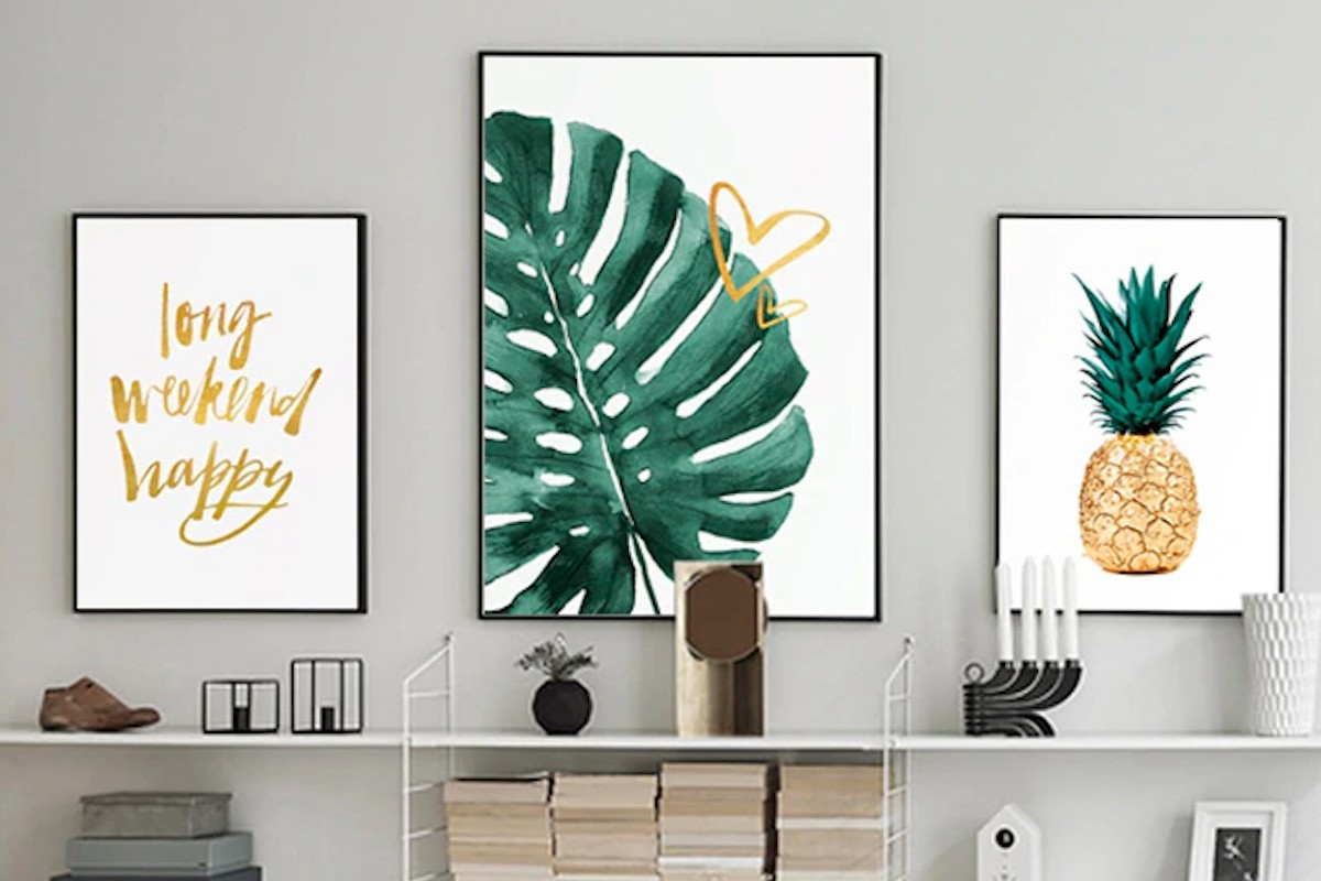 ART ZONE Golden Pineapple Modern Art Canvasses are perfect for any bare wall
