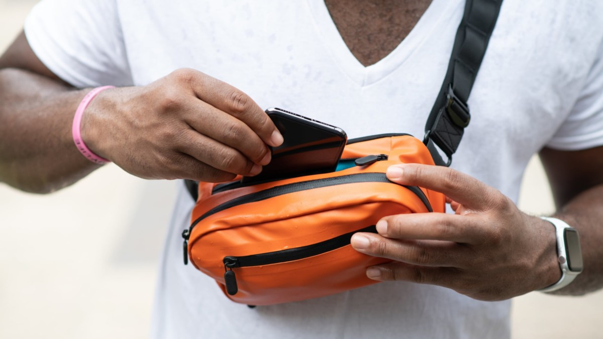 Ampere Side Pocket Wireless Charging Travel Fanny Pack lets you charge totally hands-free