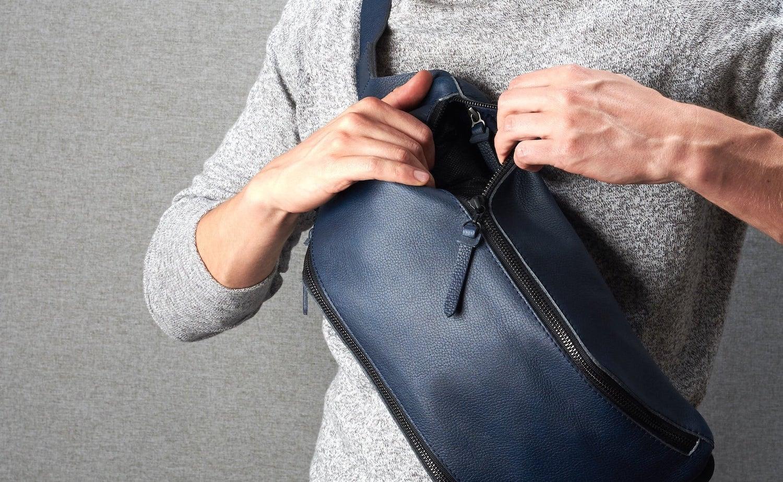 Blue Leather Backpack Sling Bag