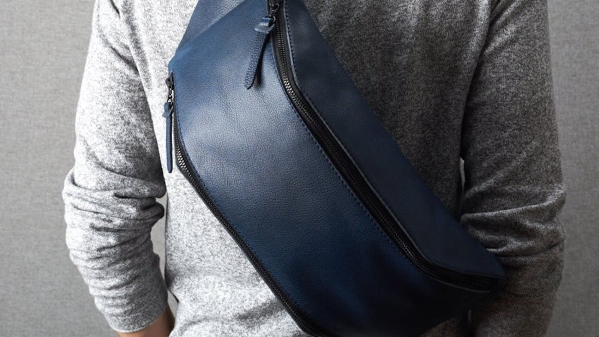 Blue Leather Backpack Sling Bag conveniently carries your everyday items