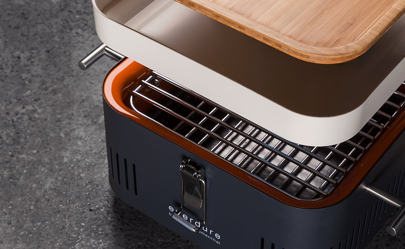 Everdure by Heston CUBE Compact Charcoal BBQ lets you grill anywhere