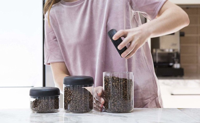 Fellow Atmos Vacuum Canister Food Storage Container keeps your coffee fresh for longer
