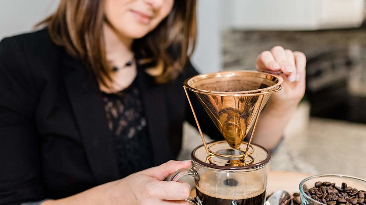 Hibou Pour Over Copper-Coated Coffee Dripper works independently or in a Chemex