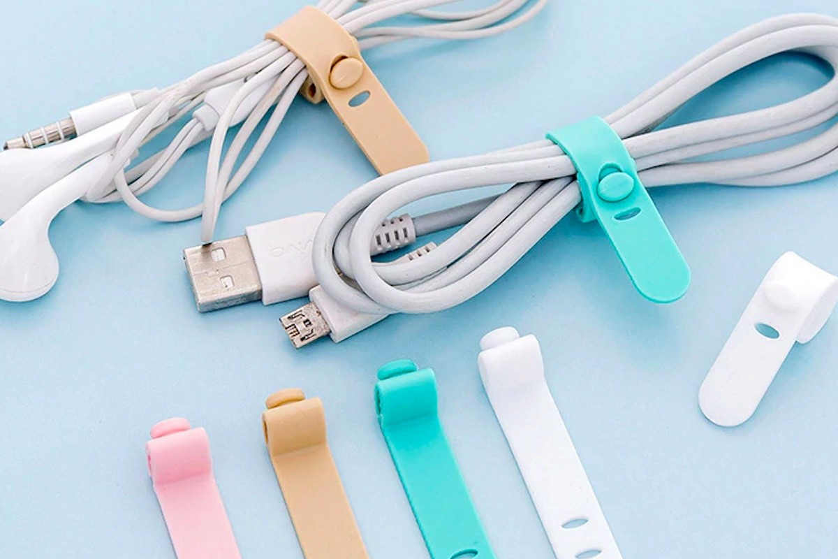 Silica Gel Pastel Flexible Cable Tidy adjusts to the size you need