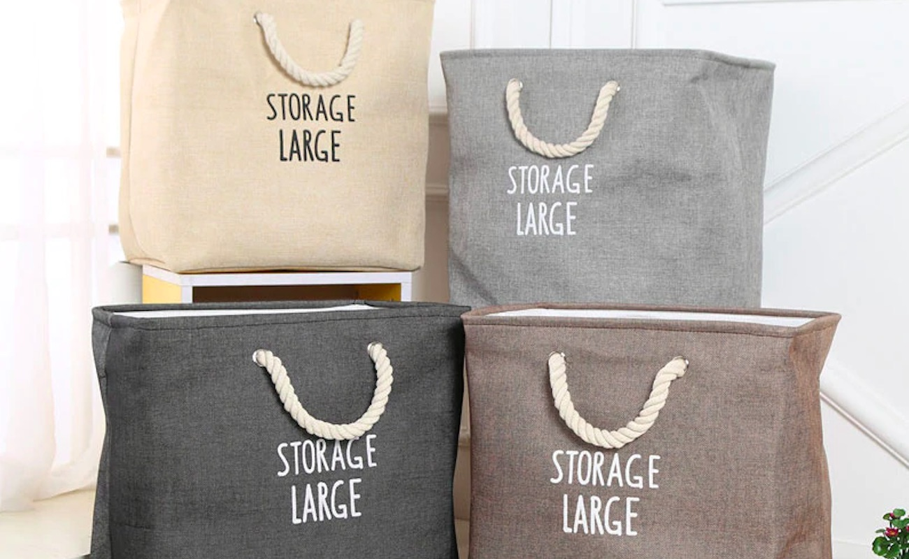 Storage Large Fabric Laundry Basket comes with convenient handles