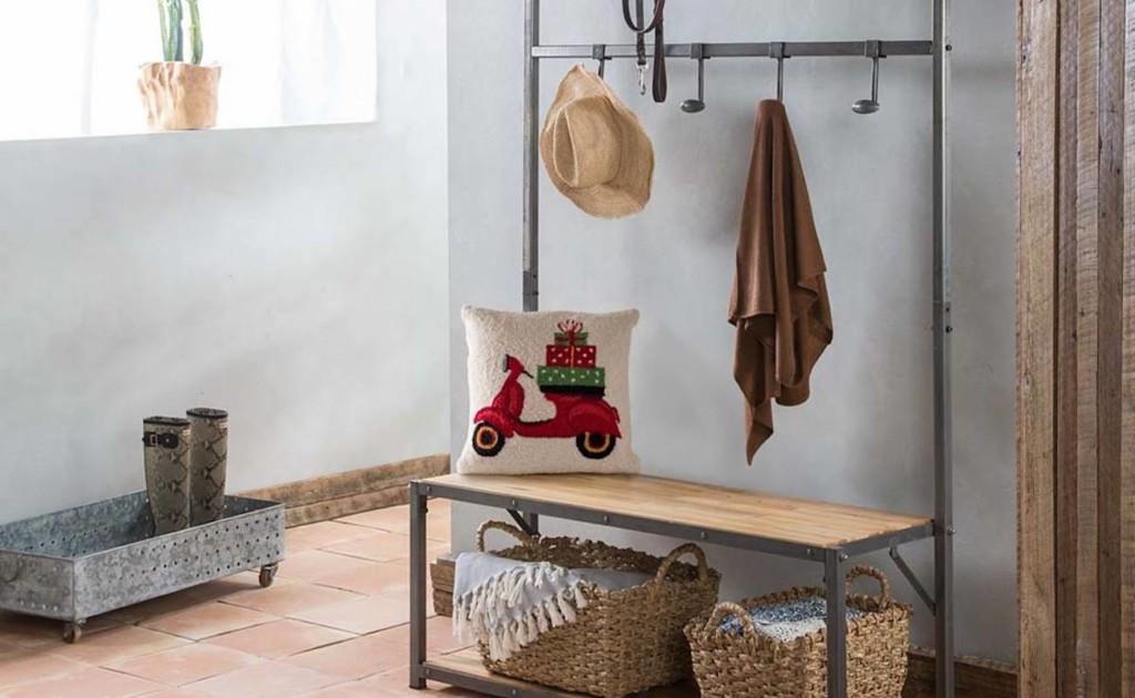 VivaTerra+Reclaimed+Teak+Wood+Mudroom+Bench+%26%23038%3B+Hanger+helps+organize+your+entryway