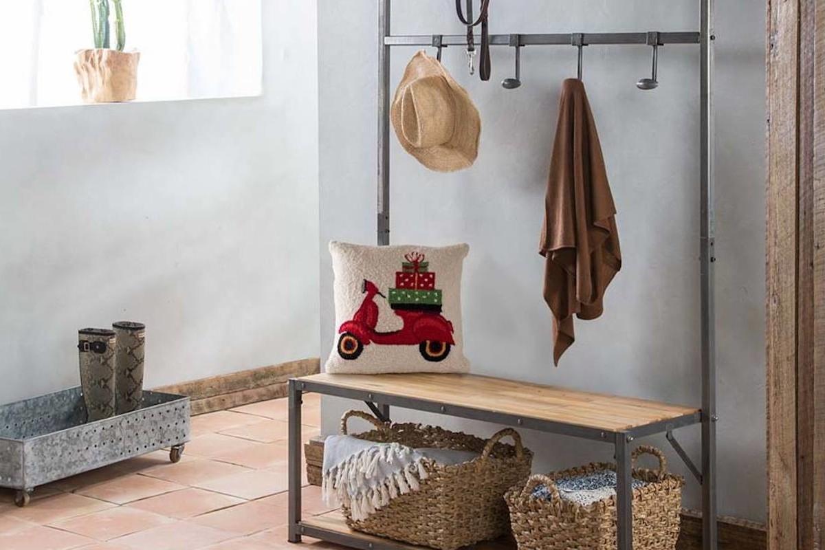 VivaTerra Reclaimed Teak Wood Mudroom Bench & Hanger helps organize your entryway