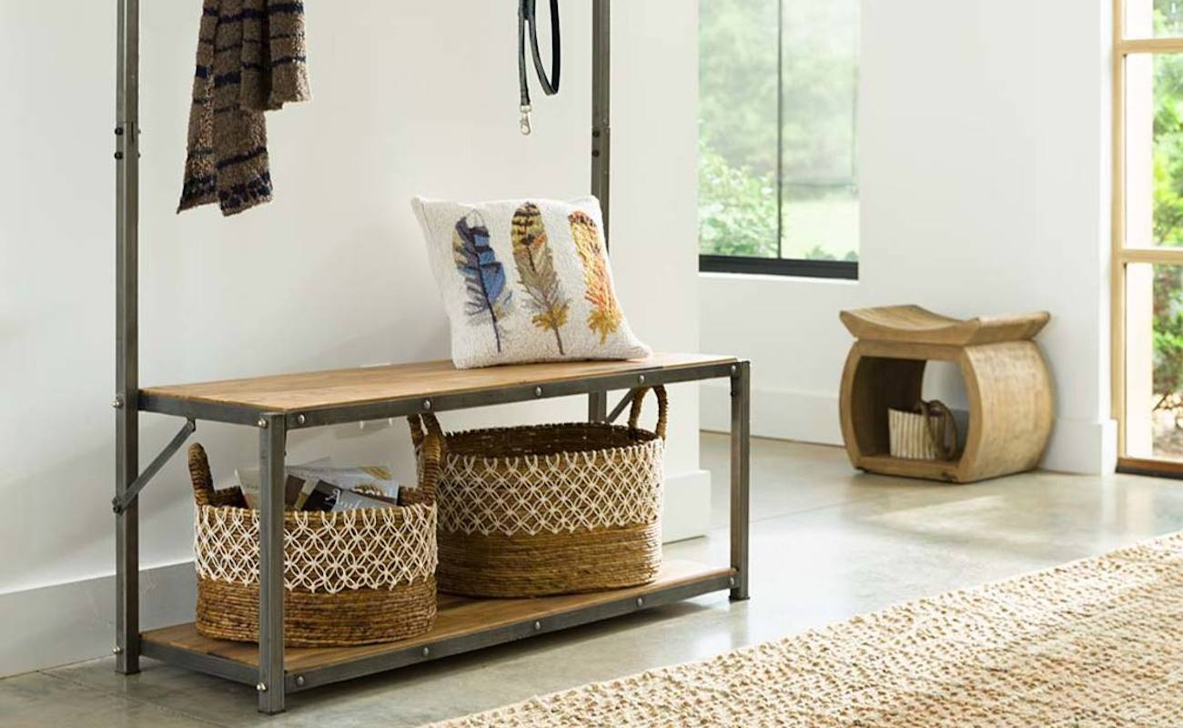 VivaTerra Reclaimed Teak Wood Mudroom Bench & Hanger helps organize your entryway