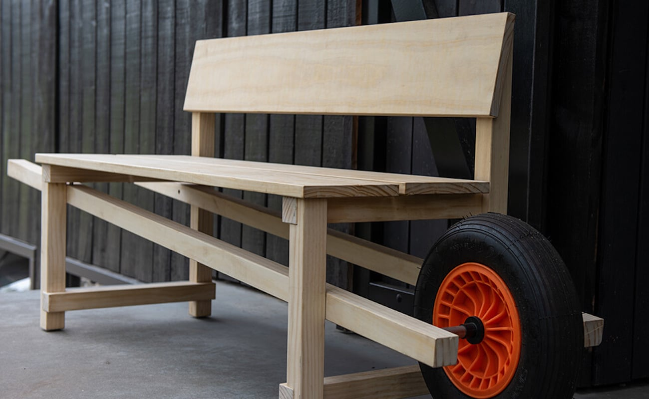 Weltevree Wheelbench Mobile Outdoor Bench gives you the freedom to relax anywhere