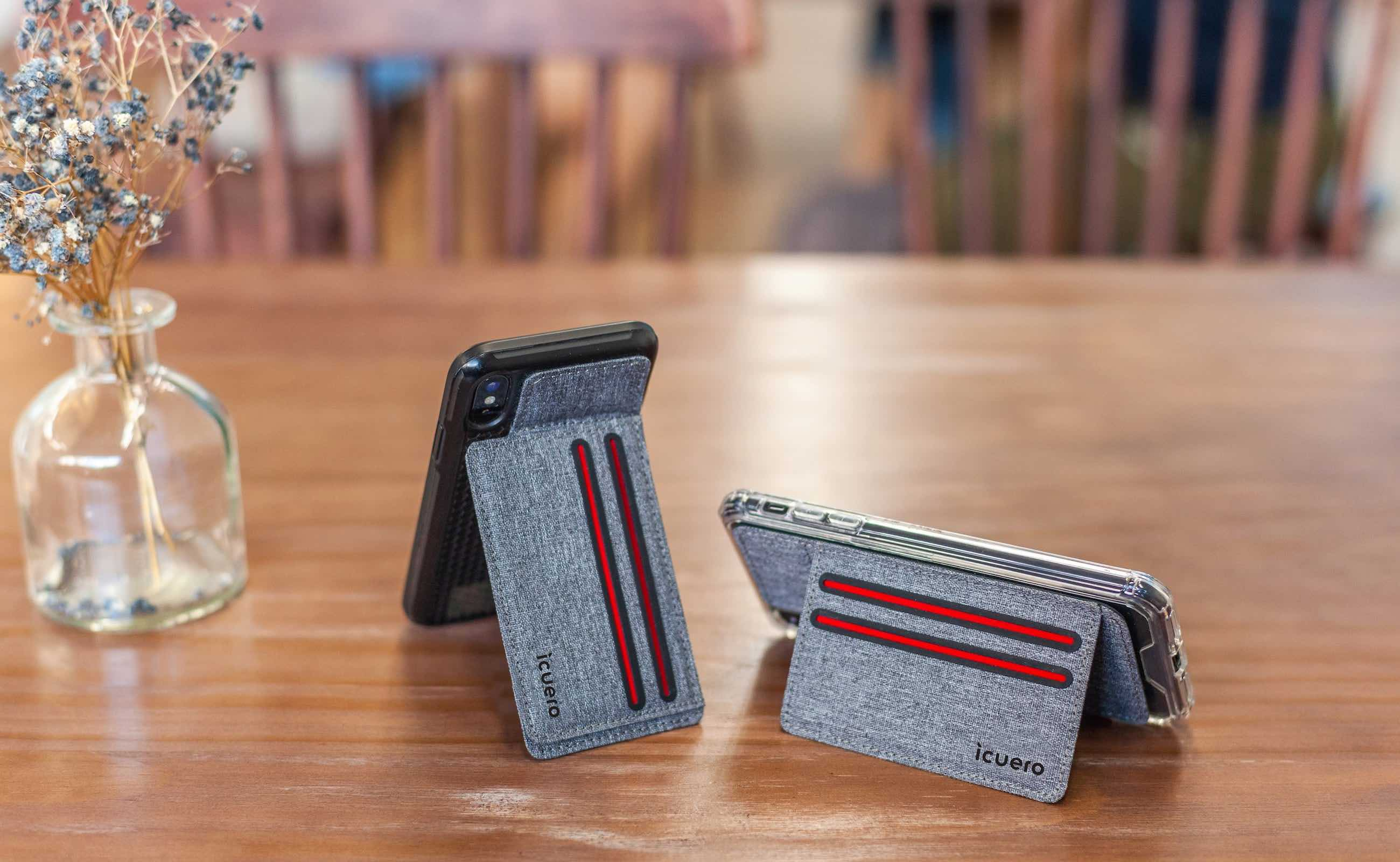 icuero Neck-Saving Smartphone Wallet Stand sticks to the back of your phone for hands-free use