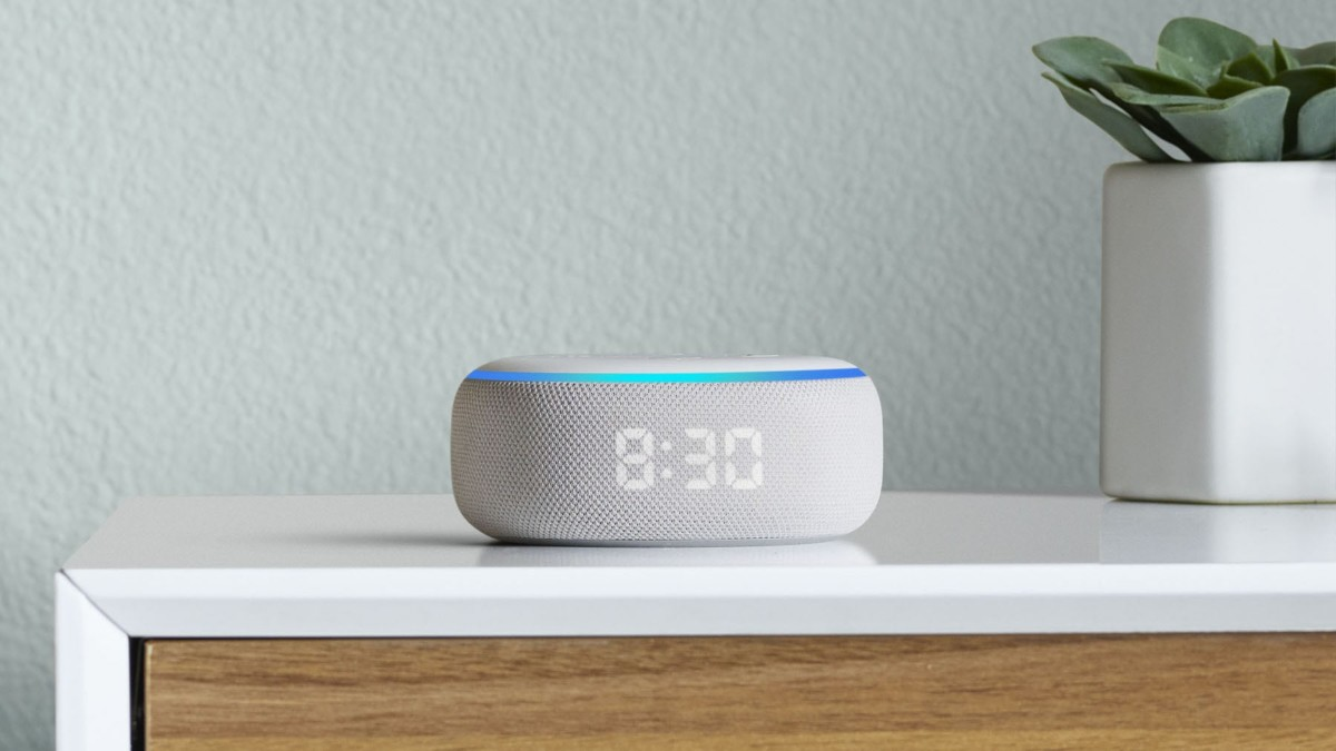 Amazon Echo Dot with Clock Smart Alarm is a discreet alarm clock for your nightstand
