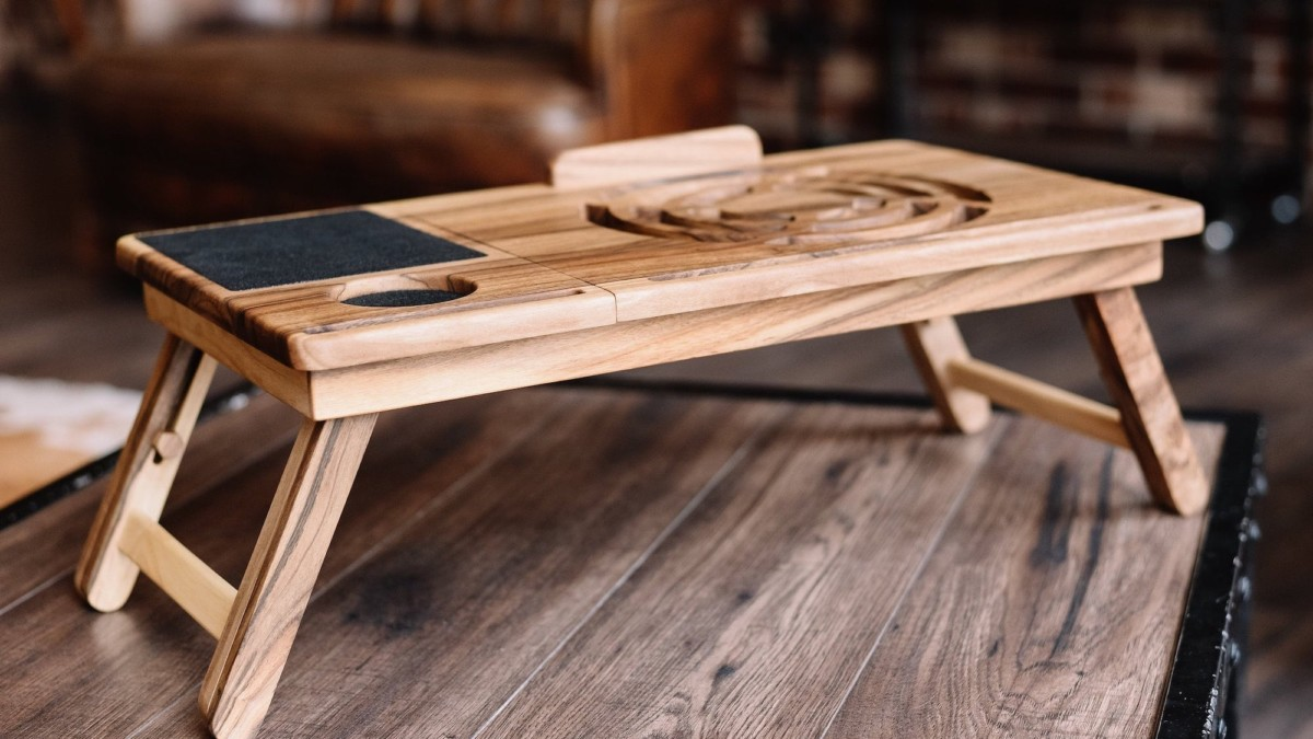 BigLemur Walnut Laptop Stand lets you comfortably use your computer anywhere