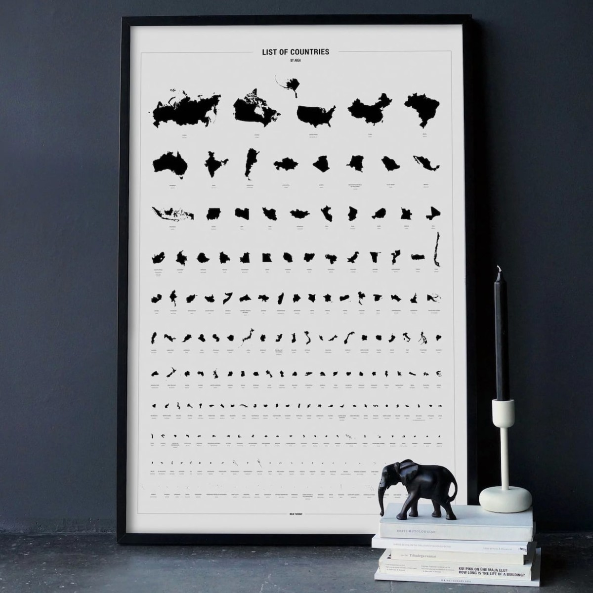 Bold Tuesday List of Countries World Map Print organizes 196 nations by their area