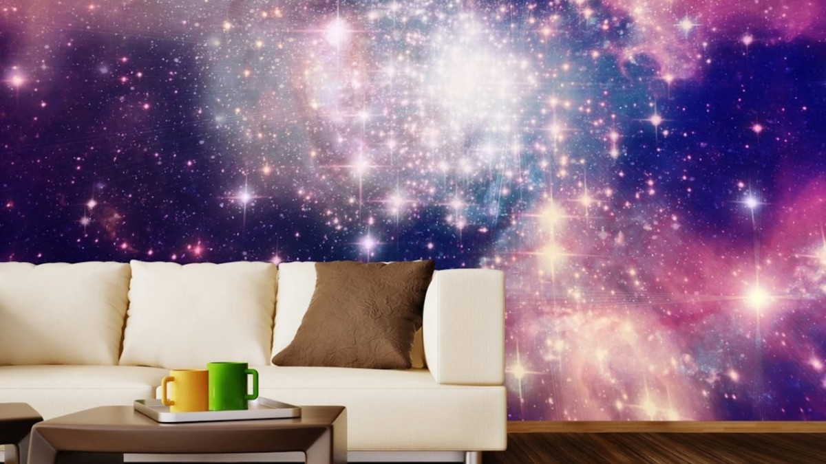 WallsNeedLove Dawn of the Cosmos Wall Mural adheres to your wall and teleports you