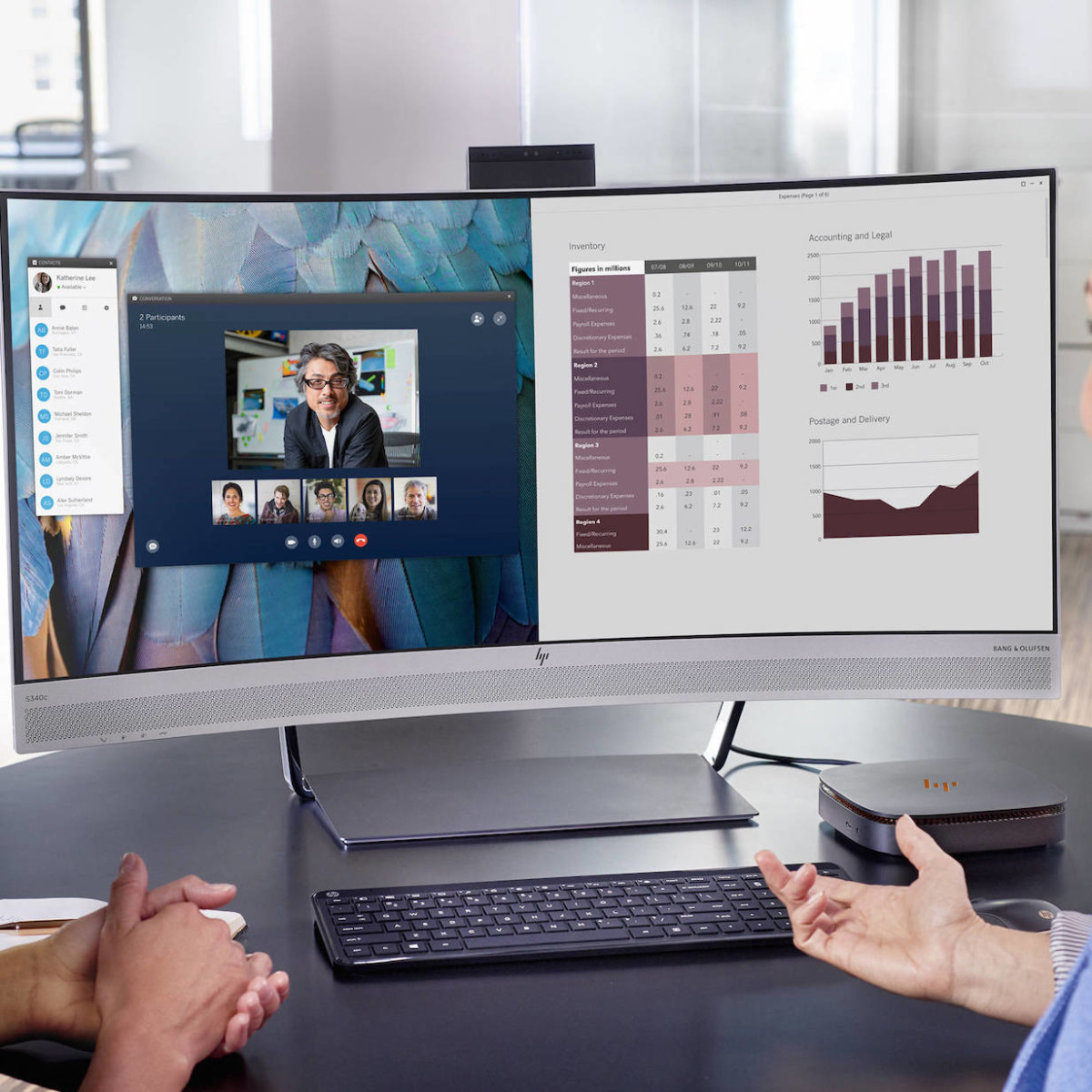 HP EliteDisplay S340c Curved Monitor offers true face-to-face collaboration