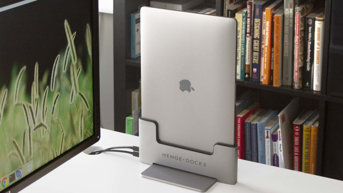 Henge Docks Vertical MacBook Pro Dock keeps your desk space more organized