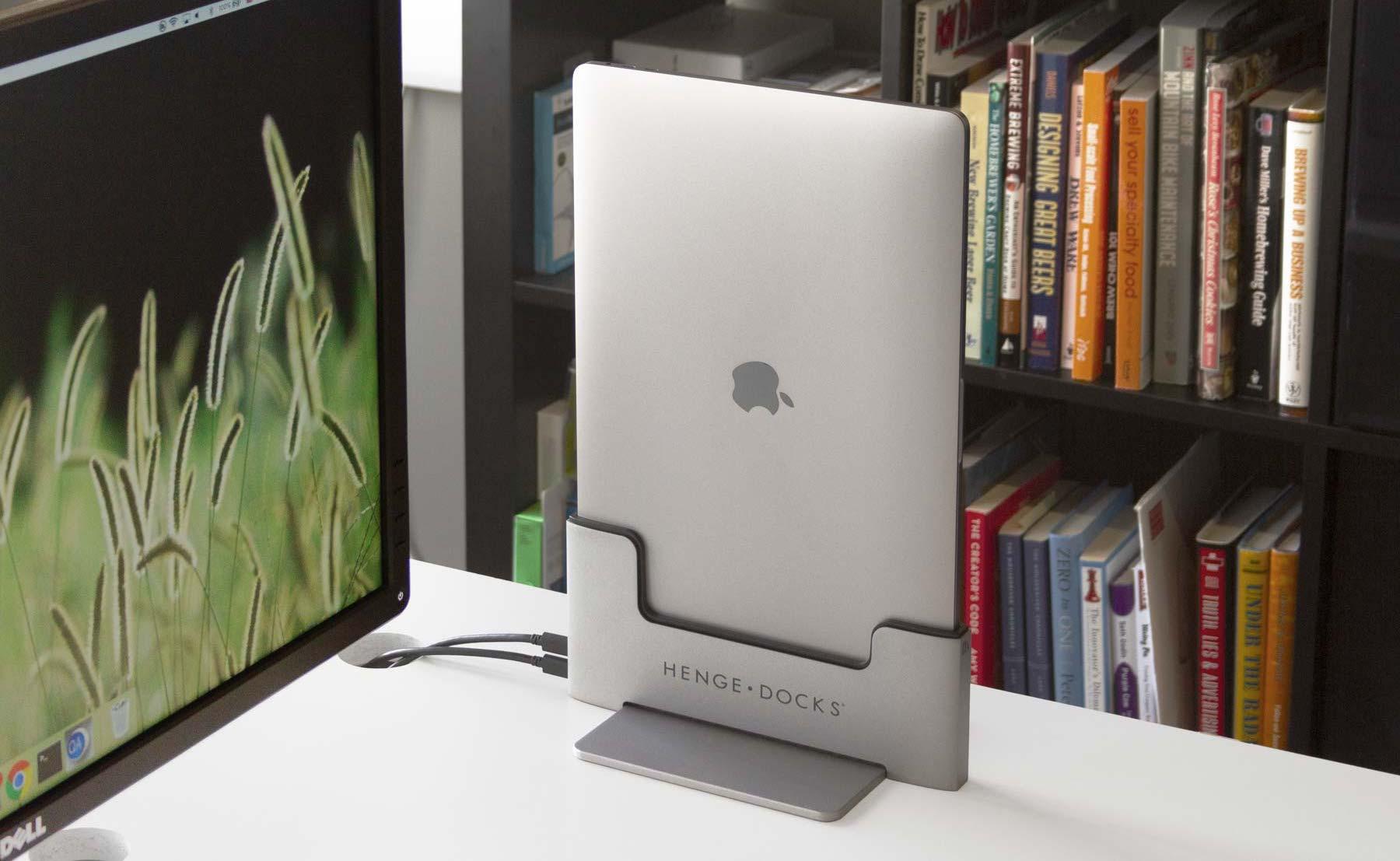 Henge Docks Vertical MacBook Pro Dock keeps your desk space more organized