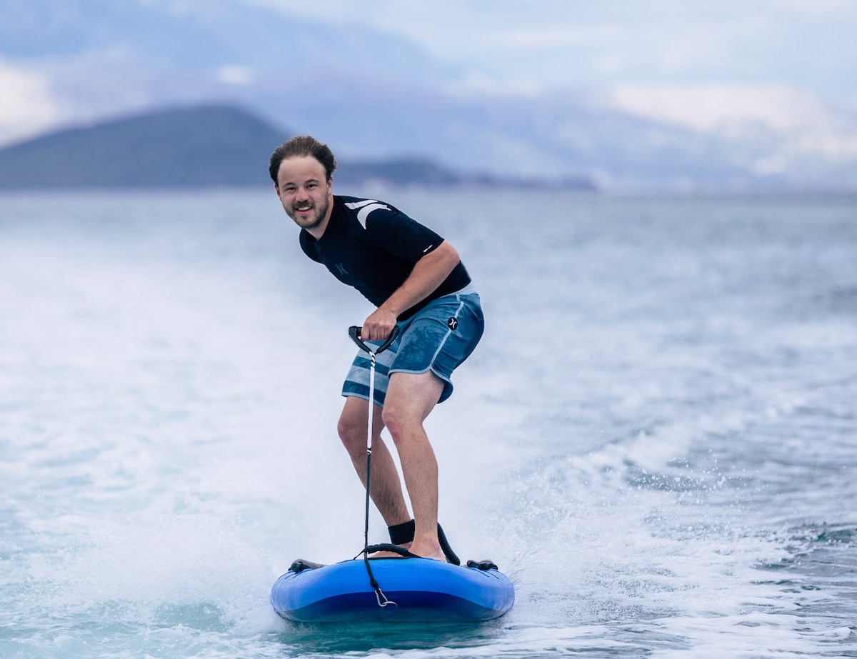 Lampuga Air Inflatable Electric Surfboard is fun for riders with any level of experience