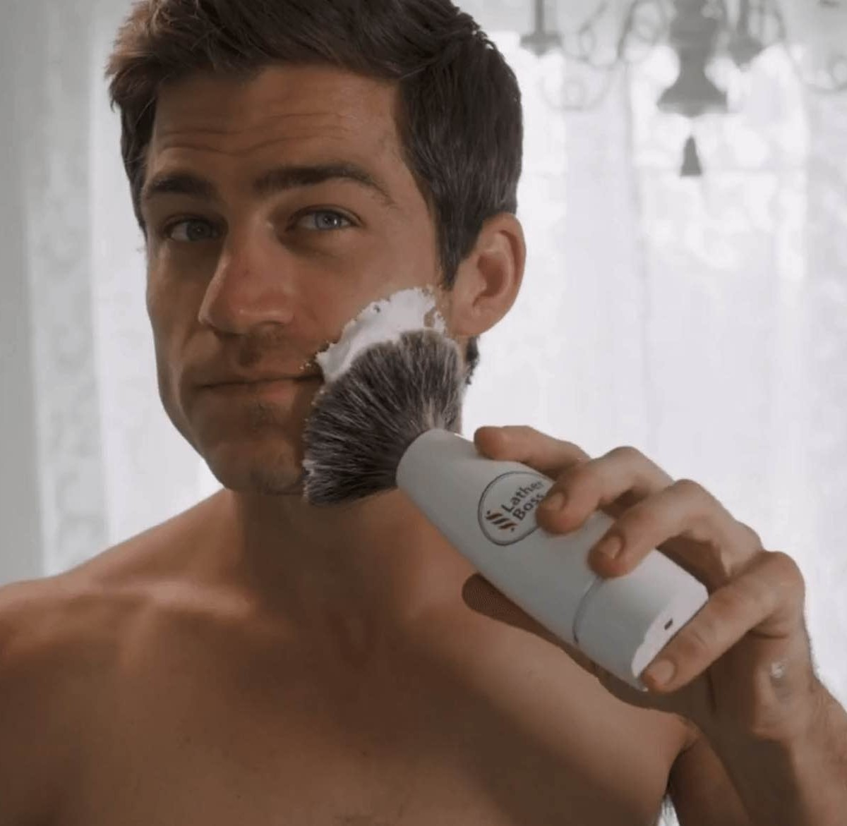 LatherBoss Self-Foaming Shave Brush gives a barbershop shave anywhere