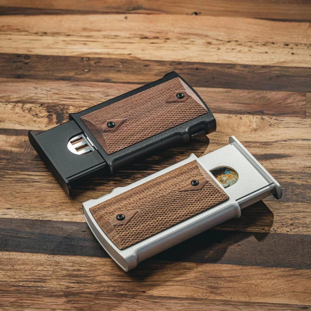 M1911-h Reloading Card Holder sounds just like the real pistol