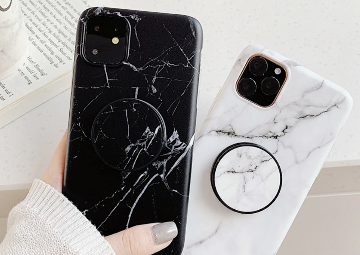 Marble Grip iPhone 11 Pro Max Case has a pop-up grip