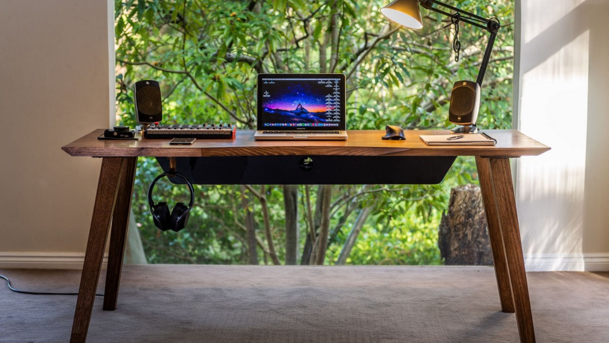 Mesa 57 Mid-Century Modern Integrated Desk seamlessly manages all your cables
