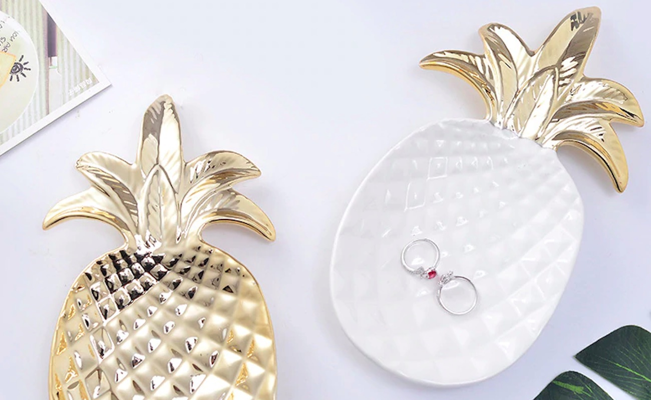 Modern Gold Pineapple Valet Tray offers a stylish way to stay tidy