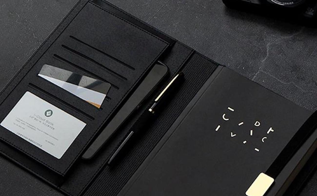 Multi-Functional Leather Notebook Cover has a spot for everything
