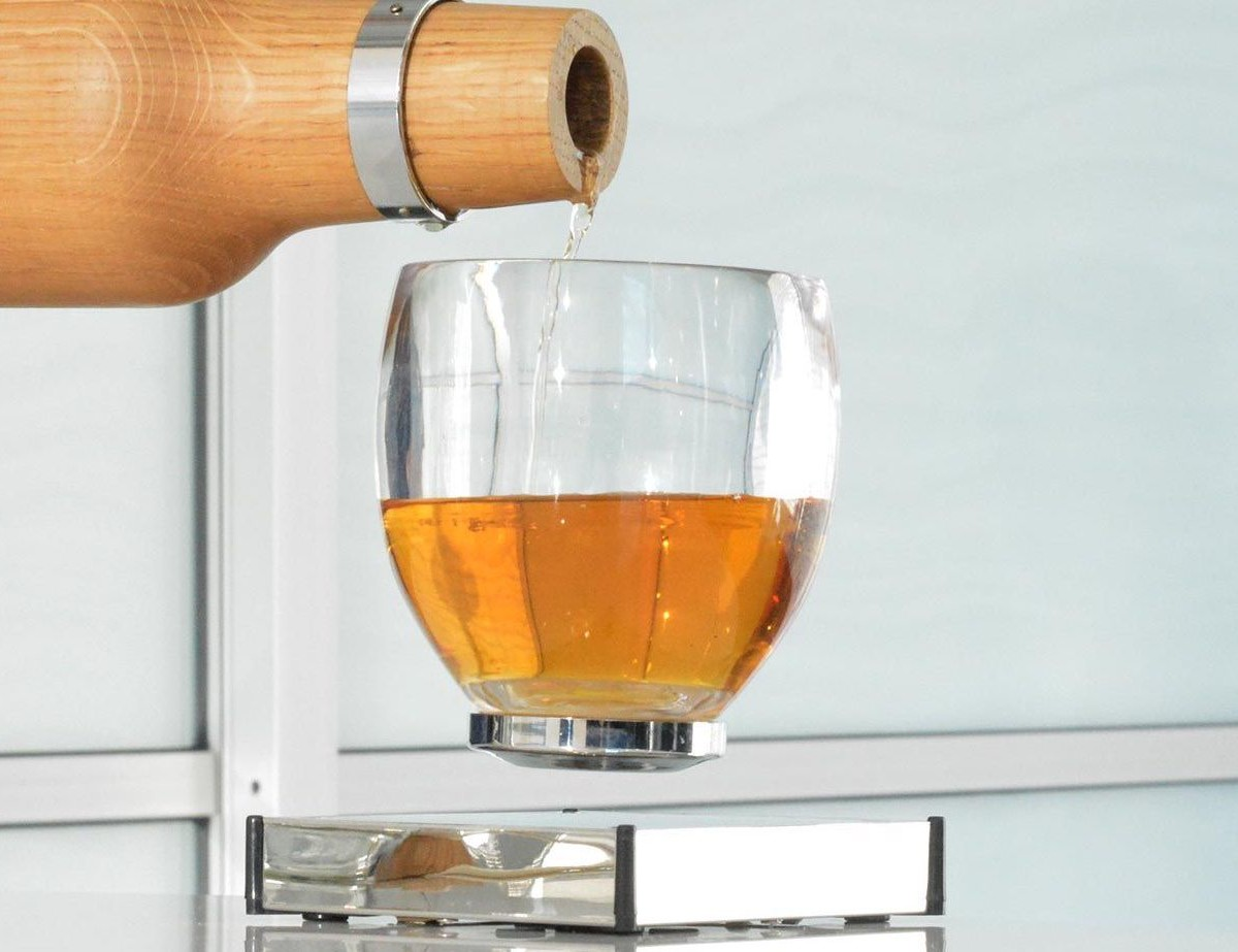 Oak Bottle Levitating Whisky Glass makes coasters completely unnecessary
