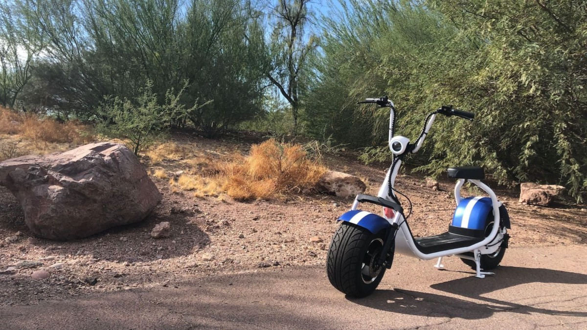 Phat Scooters HD Electric Scooter has wide wheels for easy balancing and stability