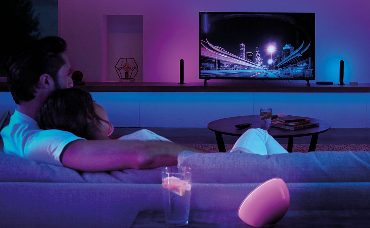 Philips Hue Play HDMI Sync Box Home Theater Device coordinates your on-screen content with atmospheric lights